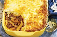 Πέννες+με+κιμά+στο+φούρνο+με+κρέμα+τυριού