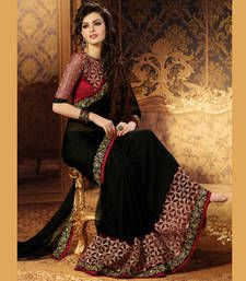Buy Black and Maroon Coloured Embroidered Chiffon Party Wear Saree With Blouse designer-embroidered-saree online