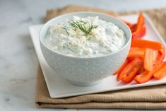 Simple creamy tzatziki yogurt dip with fresh cucumber, lemon, dill and feta cheese. It's brightly flavored and is perfect to serve with veggies, pita chips, grilled meats and even on sandwiches. Lebanese Recipes, Greek Recipes, Creme Fraiche, Appetizer Dips, Appetizer Recipes, Dinner Recipes, Sauce Recipes, Cooking Recipes, Dip Recipes