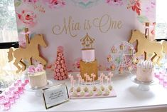 Mia's Floral Carousel First Birthday | CatchMyParty.com