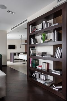 Bookshelf Design under Kiev Apartment by Soesthetic Group Showing Books Also Hardwood Feat Cement Flooring