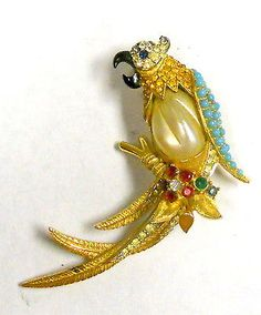 Boucher Very RARE Jewelled and Enameled Parrot Brooch | eBay