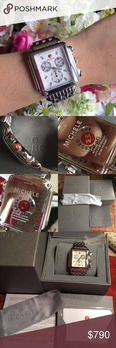NWT Michele Ladies Deco XL watch A 100% Authentic, brand new with tag Michele Watch.  Includes Michele Watch box, cleaning clot, warranty card. Stainless steel case and bracelet. Case diameter: 33mmx35 mm.  Cheaper @ MERCAR!  No TRDE!!  Reasonable Offer only PLEASE READ before making an offer. Accessories Watches