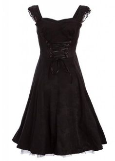 Black Brocade 50s PinUp Rockabilly Retro Dress with Black Lace  Price : $49.90 http://www.pretty-attitude.com/Black-Brocade-PinUp-Rockabilly-Retro/dp/B00FL1LZES