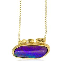 Boulder Opal Violet Blue and Green Oval Pendant by Rona Fisher