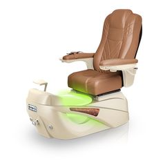 Luminous pedi-spa shown in Cappuccino Ultraleather cushion, Champagne base, Aurora LED Color-Changing bowl (shown in green)