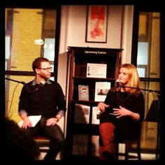 """OBREHT, FISHMAN READ AT HOUSING WORKS Seth Fishman, debut author of """"The Well's End"""" and Tea Obreht, author of """"The Tiger's Wife,"""" during their event on March 6 at Housing Works in New York City where the two authors read fan fiction they had written of each other's work."""