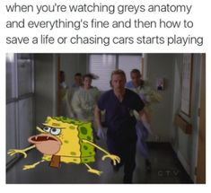 When You're Watching Greys Anatomy And Everything's Fine And Then How To Save A Life Or Chasing Cars Starts Playing - Funny Memes. The Funniest Memes worldwide for Birthdays, School, Cats, and Dank Memes - Meme Greys Anatomy Frases, Watch Greys Anatomy, Greys Anatomy Episodes, Greys Anatomy Funny, Grey Anatomy Quotes, Grays Anatomy, Anatomy Humor, I Love Series, Grey Quotes