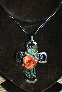 Metallic Flower Cross NecklacePencil Shaving by GinasCornerCrafts, $45.00
