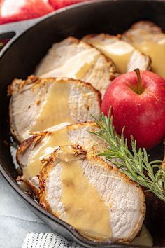 Apple Glazed Roasted Pork Loin is perfectly sweet and savory. Seasoned pork loin is roasted and then drizzled with the most amazing, delicious glaze—impress your guests or treat yourself! Pork Recipes, Crockpot Recipes, Cooking Recipes, Healthy Recipes, Pork Meals, Recipies, Pork Loin, Pork Ribs, Pork Chop