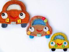 Diy Crafts - Crochet Pattern Car Applique Instant by Simplepatterndesigns Crochet Applique Patterns Free, Knitting Patterns, Crochet Appliques, Crochet For Kids, Cute Crochet, Easy Crochet, Crochet Gifts, Crochet Toys, Crochet Phone Cases