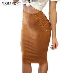 2017 vintage cintura alta falso apertado saia de camurça rendas até Primavera Quente e Macio Marrom Café Lápis Midi Bodycon Ocasional Saia E65026(China (Mainland))