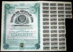 Antigua Accion  De Banco De Guanajuato  1906 !!!! $6,619.23 USD Mexico Monedas y Billetes
