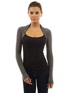 PattyBoutik Women's Long Sleeve Bolero Shrug (Gray M) ** For more information, visit image link.