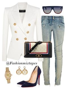 """Mood"" by divamanda on Polyvore featuring Balmain, Chanel, Christian Louboutin, CÉLINE and Rolex"