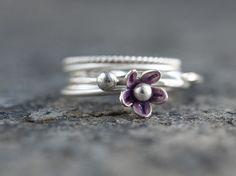 Stacking Rings Set Of 4 Purple Flower Sterling Silver Rings Cute Dainty Set Nature Inspired Delicate Elegant Handmade jewelry