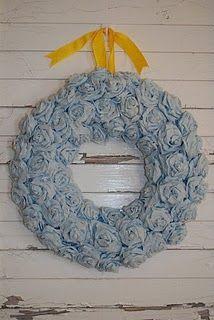 crepe paper rose wreath