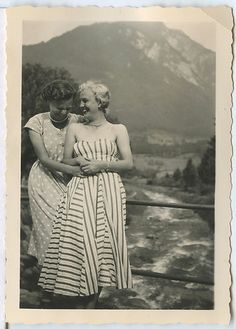 Two wonderfully happy women wearing summer dresses, c. 1950.