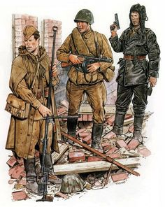 """Soviet soldiers' uniforms and arms during WWII; A soldier with Soviet PTRD-41 anti-tank gun is standing upfront. The PTRD-41; (Противотанковое однозарядное ружьё системы Дегтярёва образца 1941 года) ;""""Degtyaryov Anti-Tank Rifle"""") was an anti-tank rifle produced and used from early 1941 by the Soviet Red Army during World War II. It was a single-shot weapon which fired a 14.5×114mm round."""