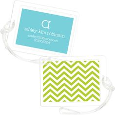 Green Chevron Stripe Luggage Tags