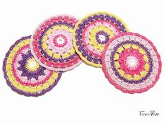 Crochet colorful coasters Set of 4 coasters by CreArtebyPatty