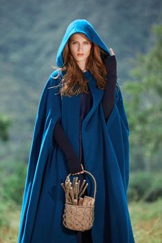 hooded wool cloak, maxi wool coat in mulberry colors), cashmere cloak cape, pure wool cape, holiday gift Hooded Wool Coat, Cashmere Cape, Langer Mantel, Wool Cape, Cape Coat, Poncho Cape, Flattering Dresses, Military Fashion, Military Style
