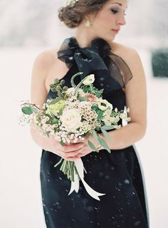 Bridesmaid in Black for a Snowy Wedding | Rustic Woodland Winter Wedding in Black and White with Shades of Gray