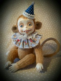 Monkey - the symbol of the year 2016 - in a gift box - Сollectible Art doll Monkey by ElenaDollmaker on Etsy https://www.etsy.com/listing/259272969/monkey-the-symbol-of-the-year-2016-in-a