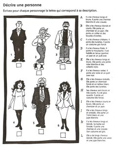 Trouvez la bonne description. Students could also come up with their own descriptions and then switch with someone who has to match them.