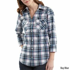 Carhartt Womens Roll-Up Sleeve Plaid Poplin Shirt (Style #WS013)-439193 - Gander Mountain