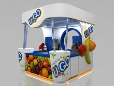 UGO Kiosk by Mohamed Salama, via Behance Kiosk Design, Cafe Design, Stand Design, Booth Design, Food Court Design, Mall Kiosk, Kiosk Store, Juice Bar Design, Food Kiosk