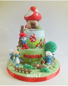 Smurf Cake Fondant Toppers, Fondant Cakes, Cupcake Cakes, First Birthday Cakes, Birthday Cake Girls, Extreme Cakes, Dad Cake, Fall Cakes, Crazy Cakes