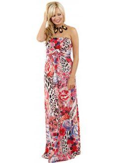 Pink Floral & Leopard Print Bandeau Maxi Dress