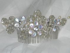 Pearl headpiece with antique silver beaded by ArtHouseBridal
