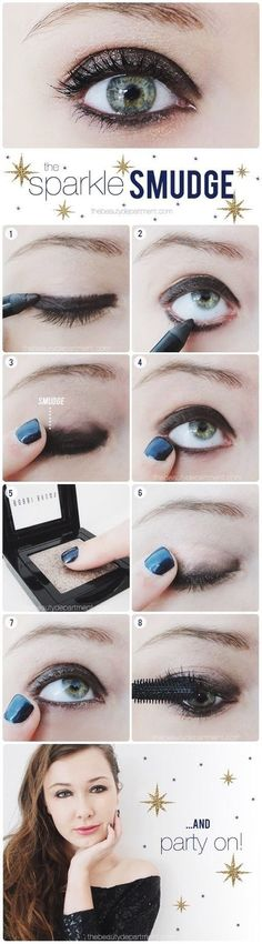 How to do a sparkle smudge look - #eyemakeup #makeup #eyeshadow #eyes #smudge look - bellashoot.com
