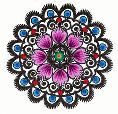 """Lowicz Wycinanki 6"""" - 15cm Floral Round"""