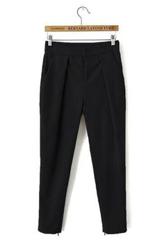Build your professional wardrobe with this pair of trousers. Made with a sleekly tapered silhouette, it comes complete with slanted front pockets, a zip fly, back flap pockets and zipped ankle cuffs for a polished look that's sure to impress. Professional Wardrobe, Polished Look, Trousers, Sweatpants, Pairs, Clothes, Black, Fashion, Trouser Pants