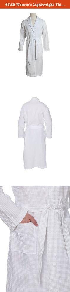 STAR Women's Lightweight Thigh Length Waffle Weave Robe Kimono Spa Bathrobe. Product Description This STAR Womens Kimono Styled Waffle Bathrobe is designed to provide the utmost in cozy comfort and style, this spa robe is light weight and absorbent. Featuring front pockets and a matching belt. Made of 100% top quality cotton. Perfect for after spa treatments, shower or sauna, or to wear around to house Features: • Womens Waffle weave spa robe. • Kimono collar waffle bathrobe. • Matching...