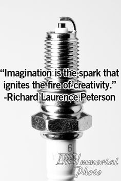 """""""Imagination is the spark that ignites the fire of creativity."""" --Richard Laurence Peterson"""