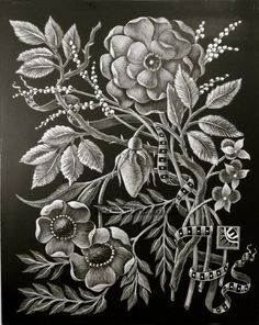 """Cynthia Emerlye, artist.  This is an 8x10 inch black clayboard engraving (scratchboard) titled """"Rosebud."""" This piece was a 36 hour effort, etched mostly by using an x-acto knife to carve away the black coating on a clayboard support."""