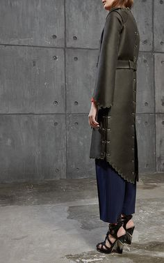Antonio Berardi Navy Tapered Kroppend Trouser $760, Scalloped Wrap Coat $3,965