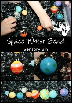 Space Water Bead Sensory Bin - hands on learning of space objects and the planets - 3Dinosaurs.com