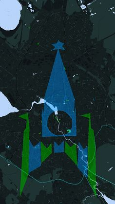 New Year cross-faction field art in Yekaterinburg, Russia, December 26-27. 11 days before the operation the city was covered with two fields of both colors, to clear unwanted links more easily. The blue field was smaller but with higher MU (usual Ingress math strangeness). Cover teams: