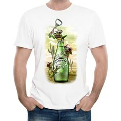 New 2017 Men's Funny Beer and Frog Design T Shirt Summer Cool Tops Soft Short Sleeve Tee