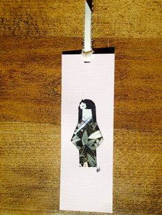 Japanese Doll Bookmark  Black on pink by ChiyogamiCrafts on Etsy, $4.00