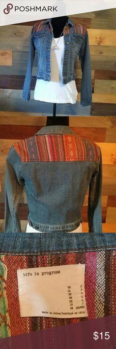Southwestern detail denim jacket Beautiful detail denim jacket life in progress  Jackets & Coats Jean Jackets