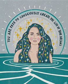 You are free to consciously create the life of your dreams, gorgeous teal art print with beautiful woman by Asja Boros. Citations Yoga, Happy Words, Pretty Words, The Life, Positive Affirmations, Positive Art, Positive Quotes, Dreaming Of You, Life Quotes