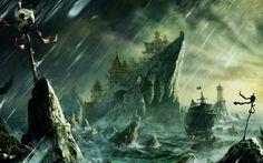 Fantasy - Pirate  - Bay - Boat - Sailing - Rock - Fort Building - Storm - Skull - Danger - Reefs - Rain - Wind - Art Wallpaper