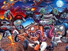 "Hellacopters ""Air Raid Serenades"" album cover painting by Dirty Donny"