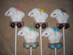 1 chocolate baby shower sheep wagon safety pin lollipop lollipops | sapphirechocolates - Edibles on ArtFire